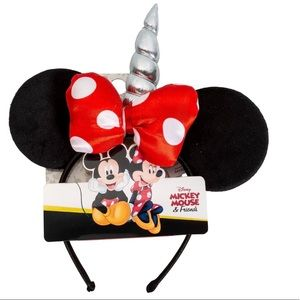 New Minnie Mouse Red Bow Unicorn Ears Headband